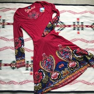 Desigual red floral Persian dress long sleeve S
